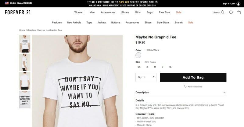 Forever 21, the popular retailer have an interesting sense of style.